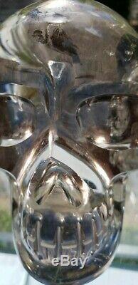 Très Grand Et Puissant Smoky Quartz Skull! Pièce Exceptionnelle! Arcs En Ciel