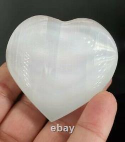 Vente En Gros 22 Pièces De 60 MM Selenite Crystal Heart Poli Palm Stone