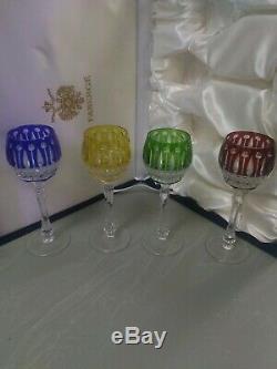 Verres À Vin En Cristal Faberge Xenia Imperial Gravés Ensemble De 4 Pièces Nib