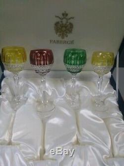 Verres À Vin En Cristal Impérial Faberge Xenia Gravés Nib, 4 Pièces