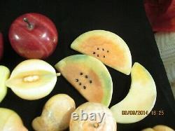 Vintage 21 Pièces Alabaster Marble Quartz Stone Fruit 3 Oeufs Pommes Exceptionnelles