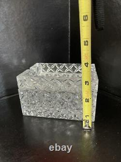 Vintage Lead Crystal Plus De 24% Porte-boîte À Cigarettes En Deux Pièces Et L'ashtray