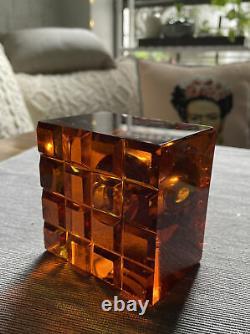 Vintage Levenger Amber Solid Crystal & Laiton Inkwell Ink Pot Pièce De Bureau D'écriture