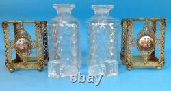 Vintage Ormolu Cristal Émaillé Parfum Scent Bouteilles & Boissons Boîte À 5 Pièces