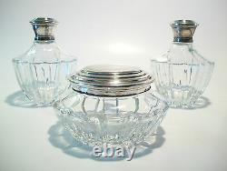 Vintage Three Piece Vanity Set Silver Plate & Crystal Début Du 20ème Siècle