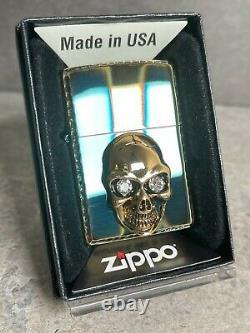 Zippo 3d Crâne En Cristal Martelé Pièce Stupéfiante